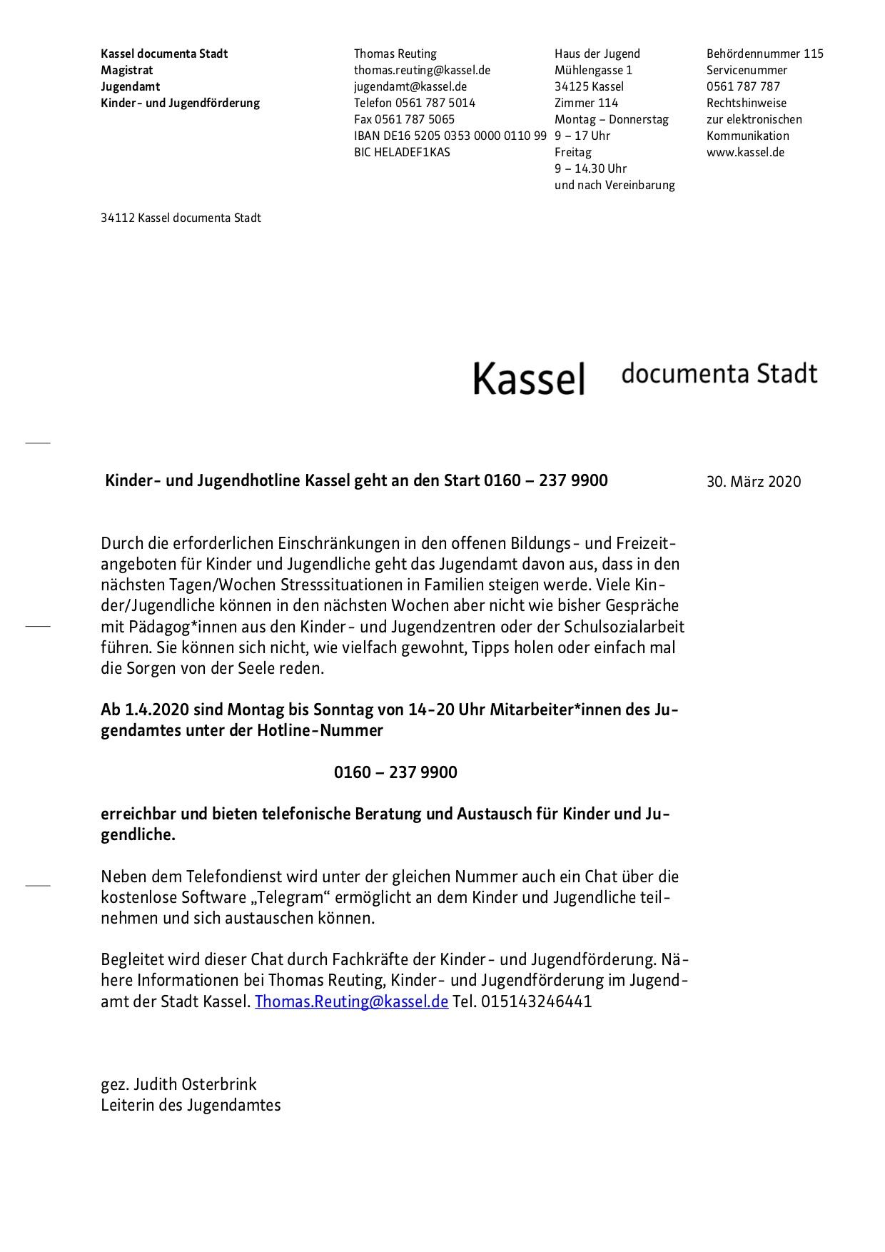 Kinder- und Jugendhotline der Stadt Kassel